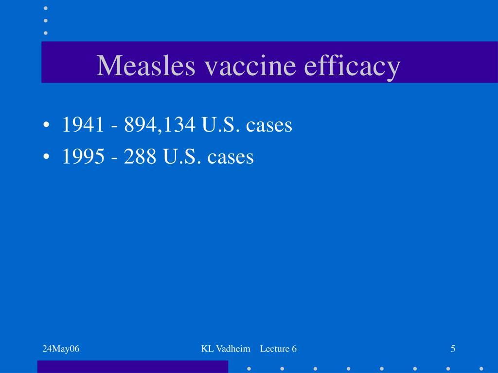 Measles vaccine efficacy