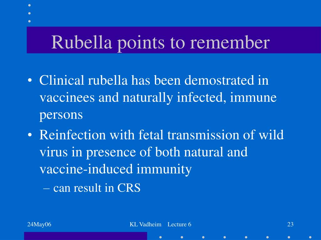 Rubella points to remember