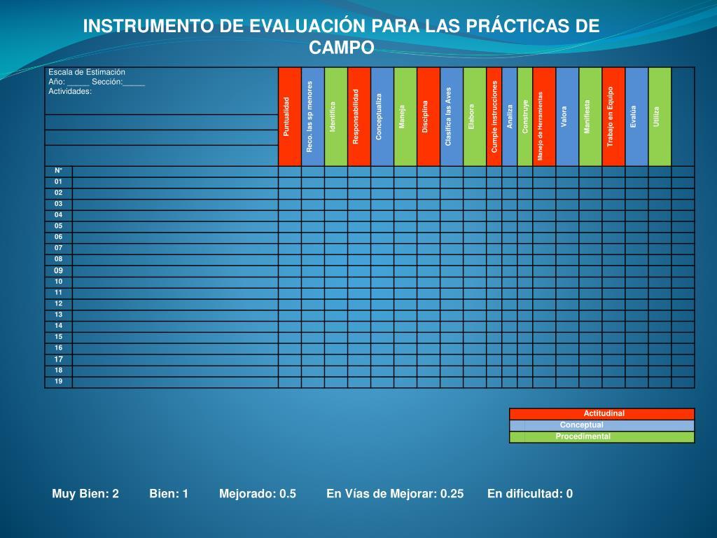 INSTRUMENTO DE EVALUACIÓN PARA LAS PRÁCTICAS DE CAMPO