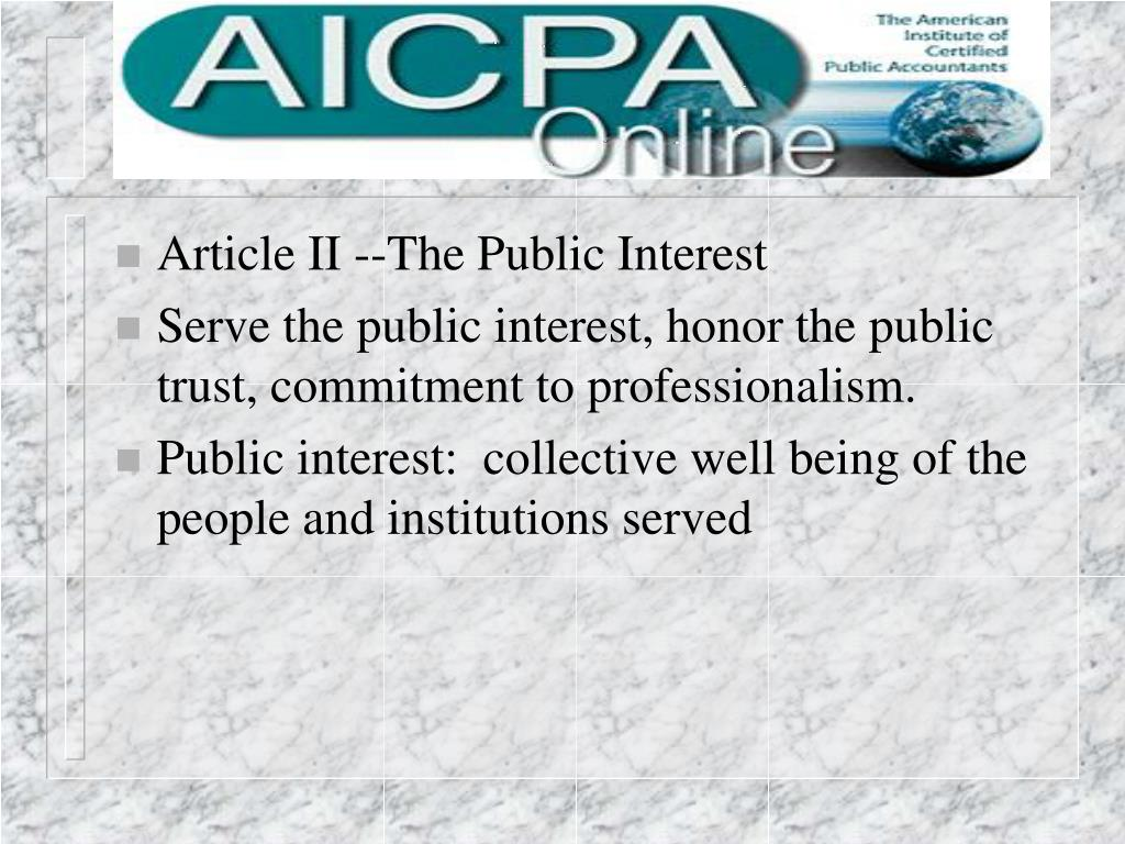 Article II --The Public Interest
