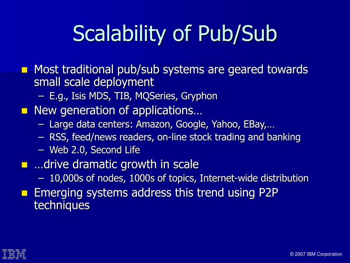 Scalability of pub sub