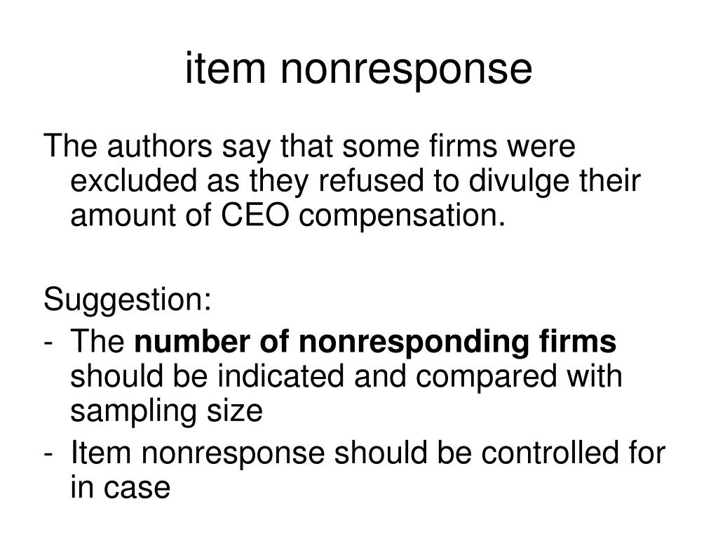 item nonresponse