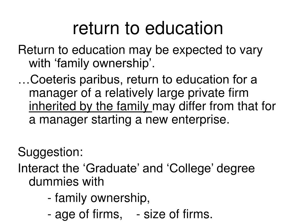 return to education
