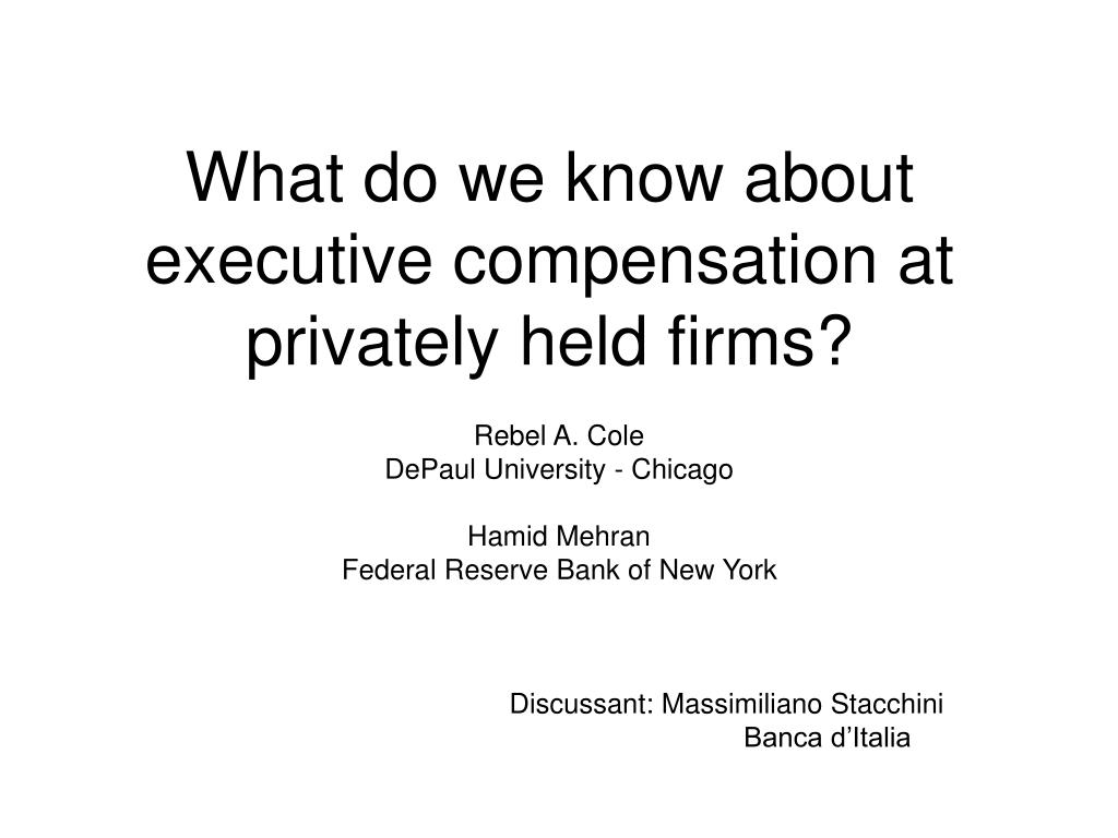 what do we know about executive compensation at privately held firms