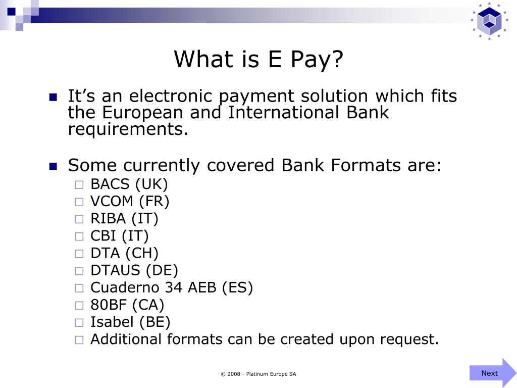 What is E Pay?