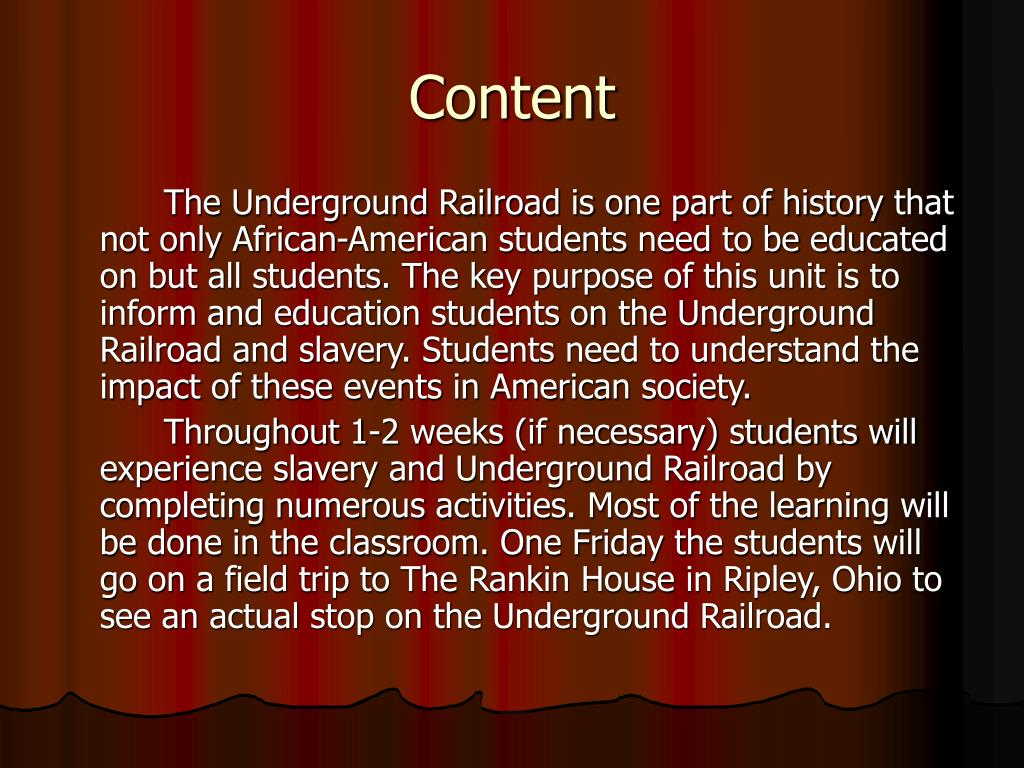 the importance and objectives of the underground railroad Myers became the most important leader of the underground railroad in the  albany area vigilance committees that formed within communities for the  purpose.