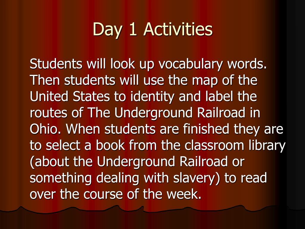 Day 1 Activities