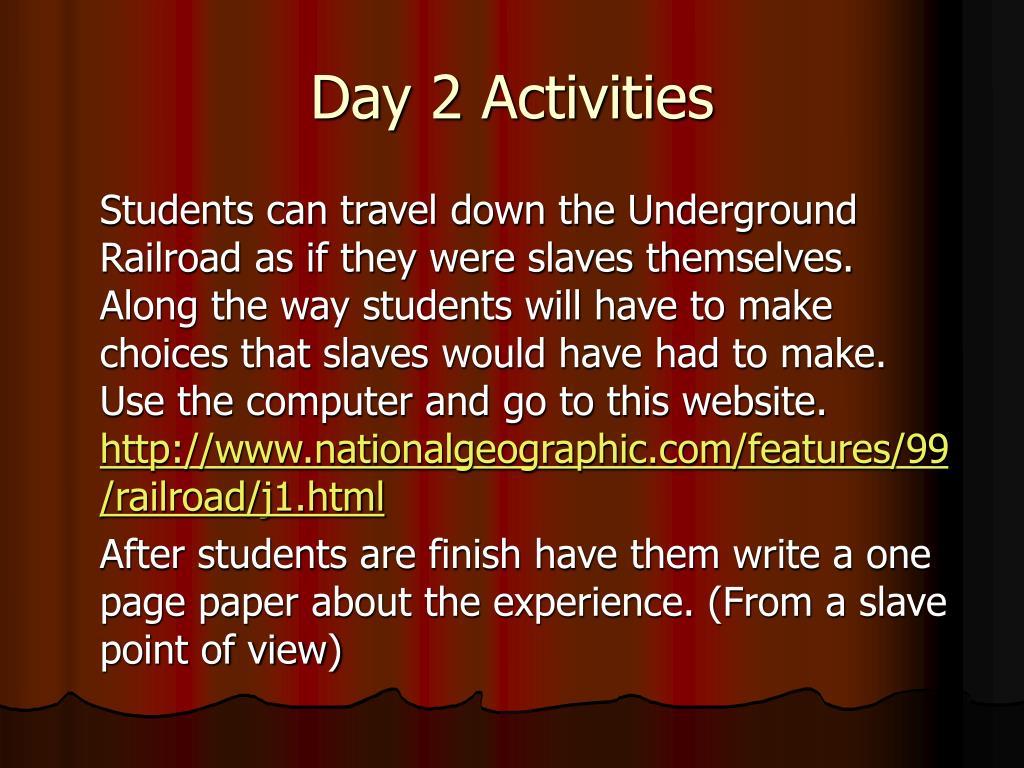 Day 2 Activities