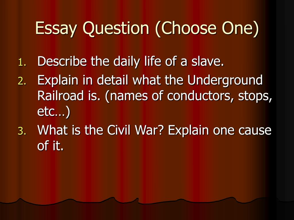 Essay Question (Choose One)