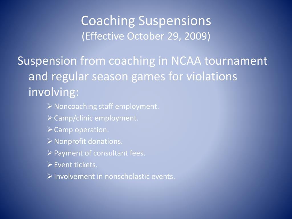 Coaching Suspensions