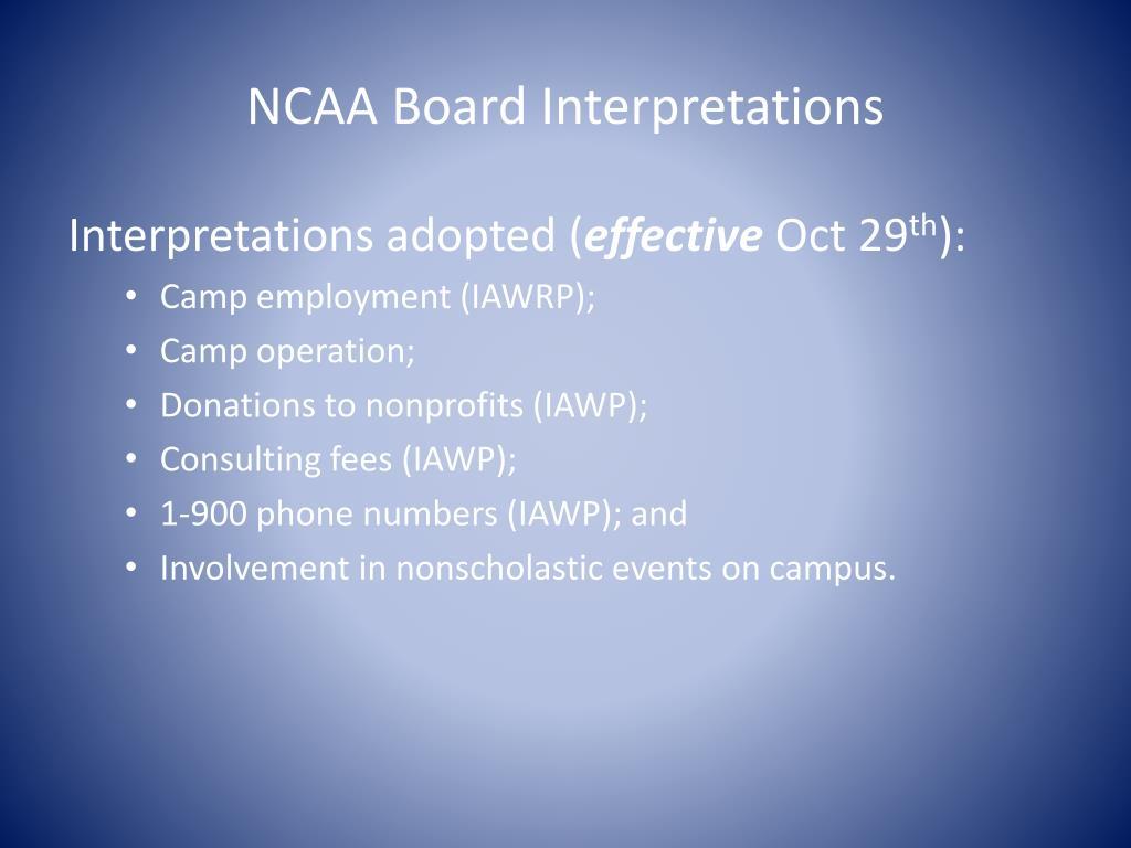 NCAA Board Interpretations