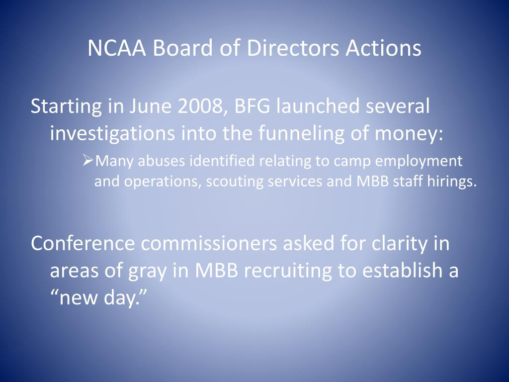 NCAA Board of Directors Actions