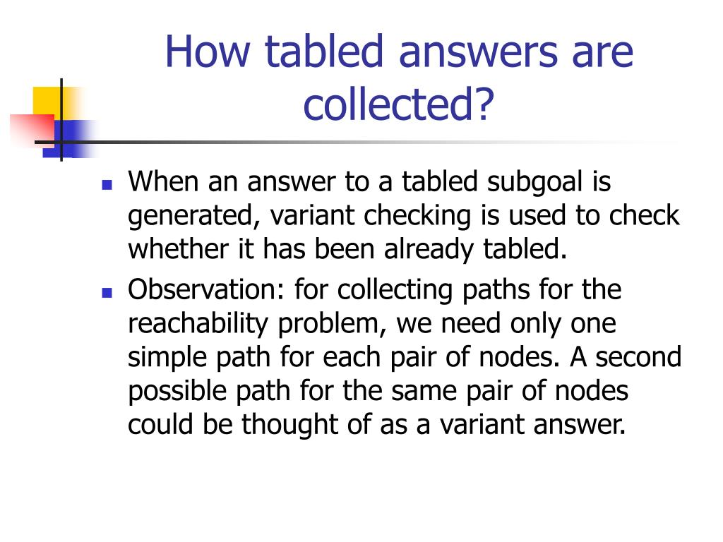 How tabled answers are collected?