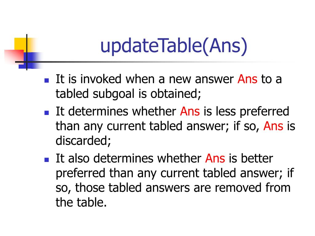 updateTable(Ans)