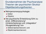 grundannahmen der psychoanalyse theorien der psychischen struktur objektbeziehungstheorien
