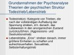 grundannahmen der psychoanalyse theorien der psychischen struktur todestrieb lebenstrieb