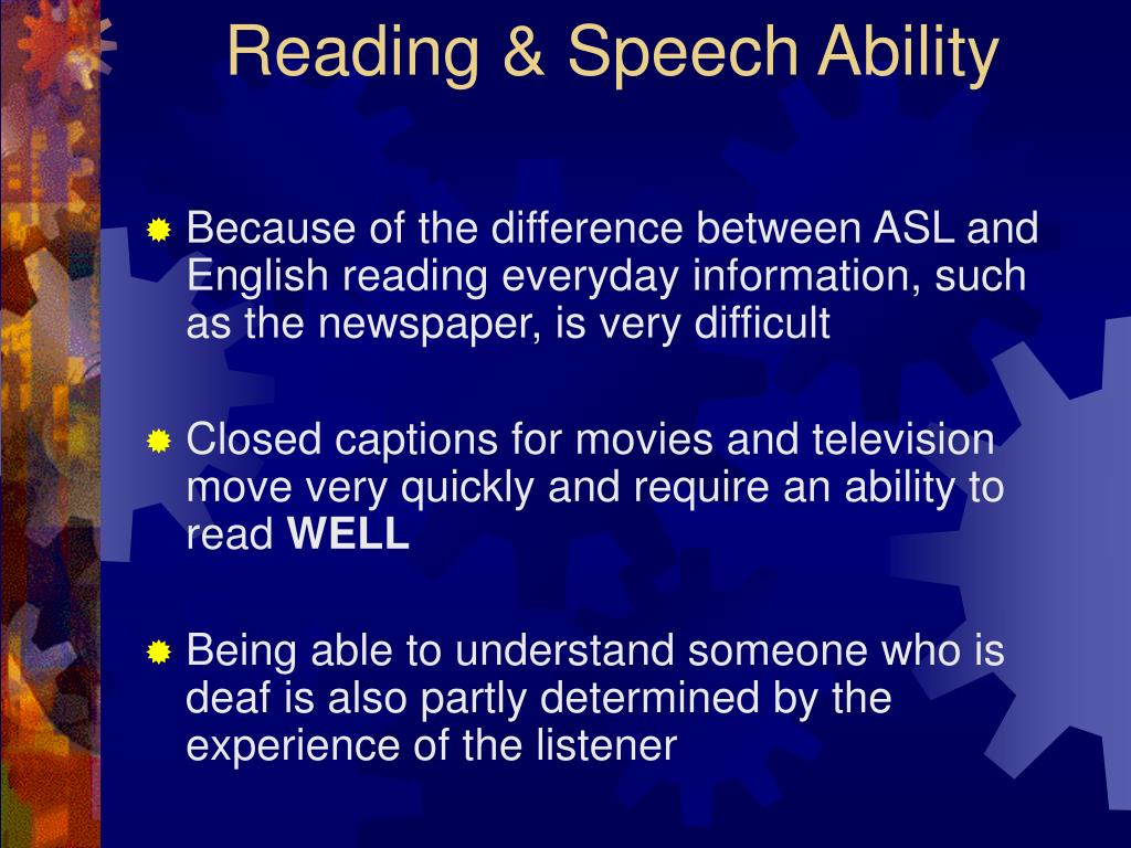 Reading & Speech Ability