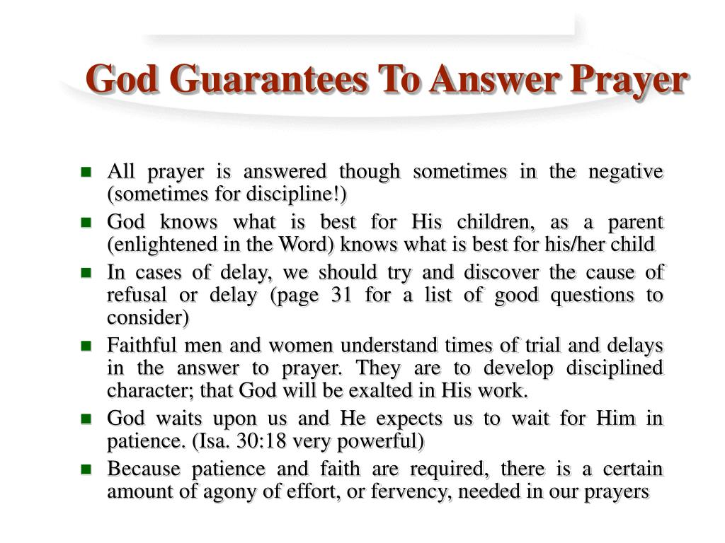 God Guarantees To Answer Prayer