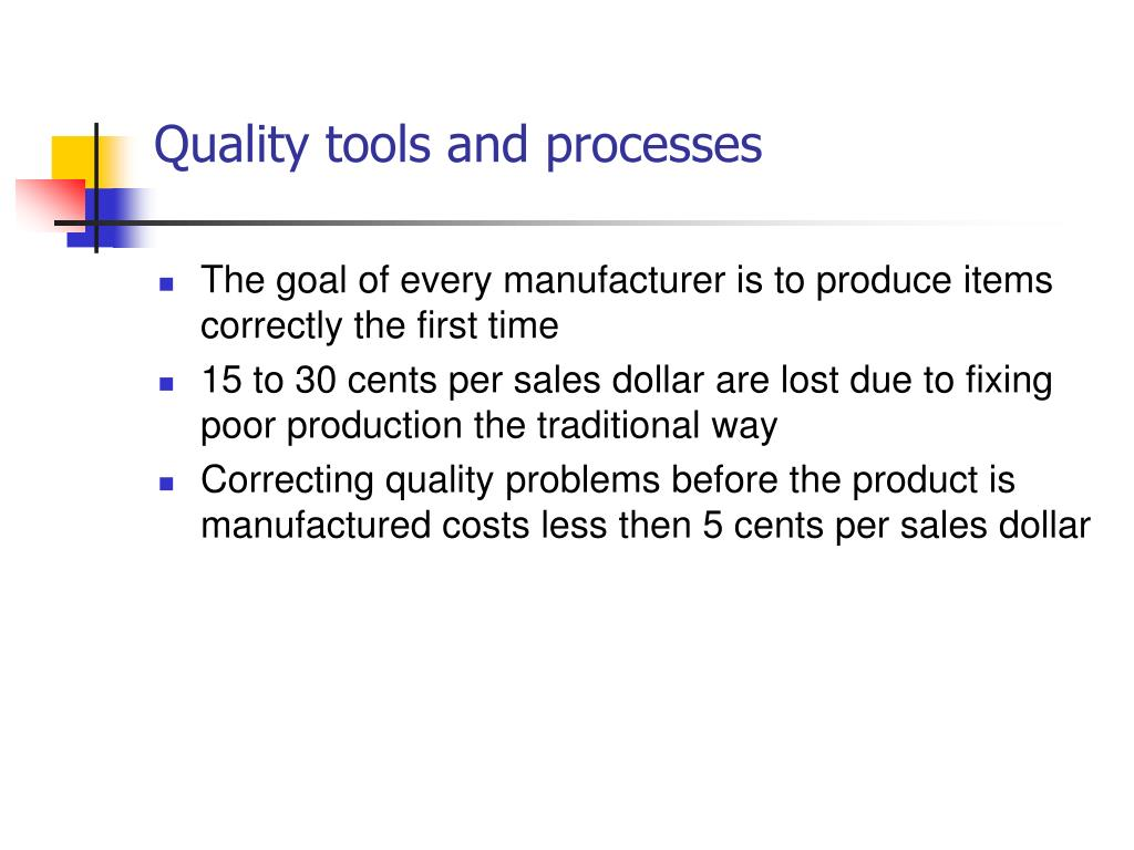 Quality tools and processes