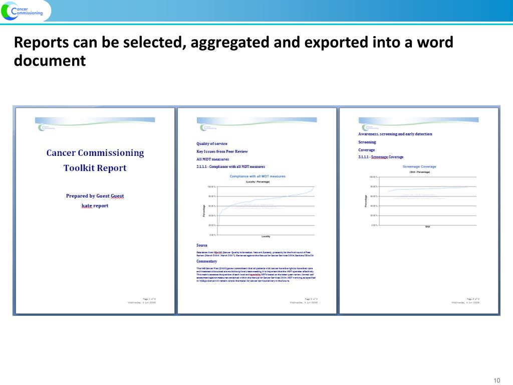 Reports can be selected, aggregated and exported into a word document