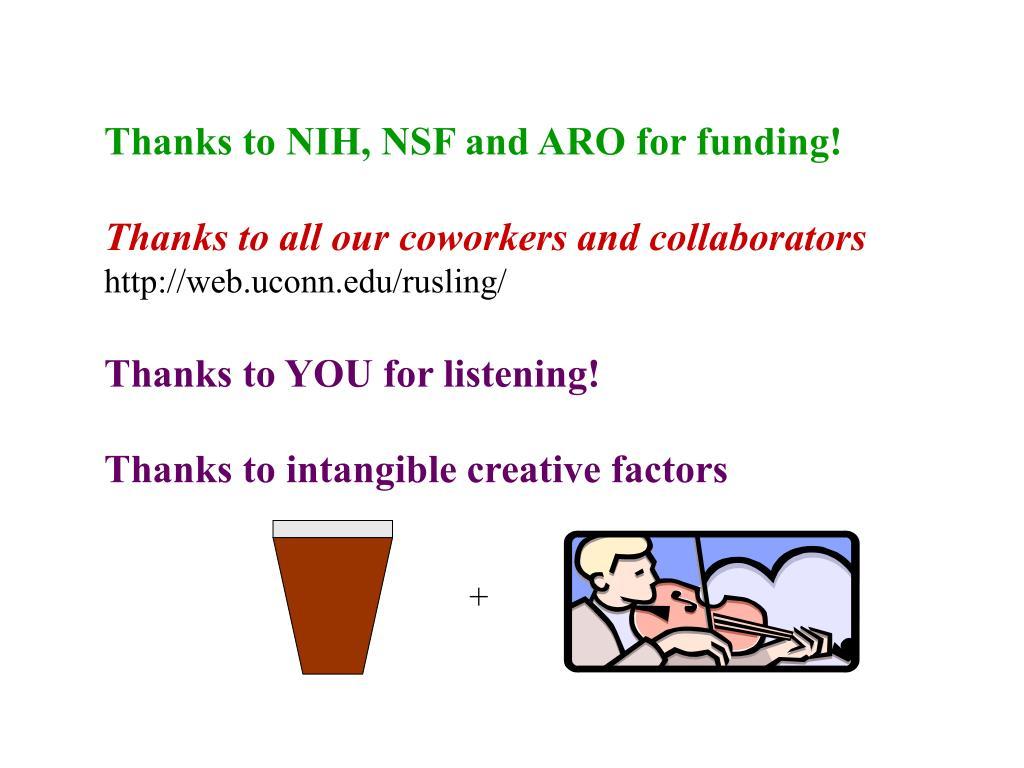 Thanks to NIH, NSF and ARO for funding!