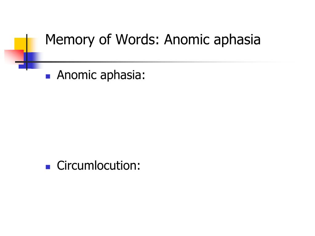 Memory of Words: Anomic aphasia