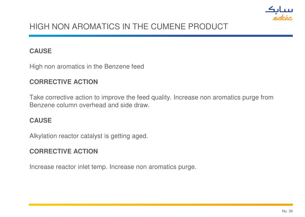 High non aromatics in the cumene product