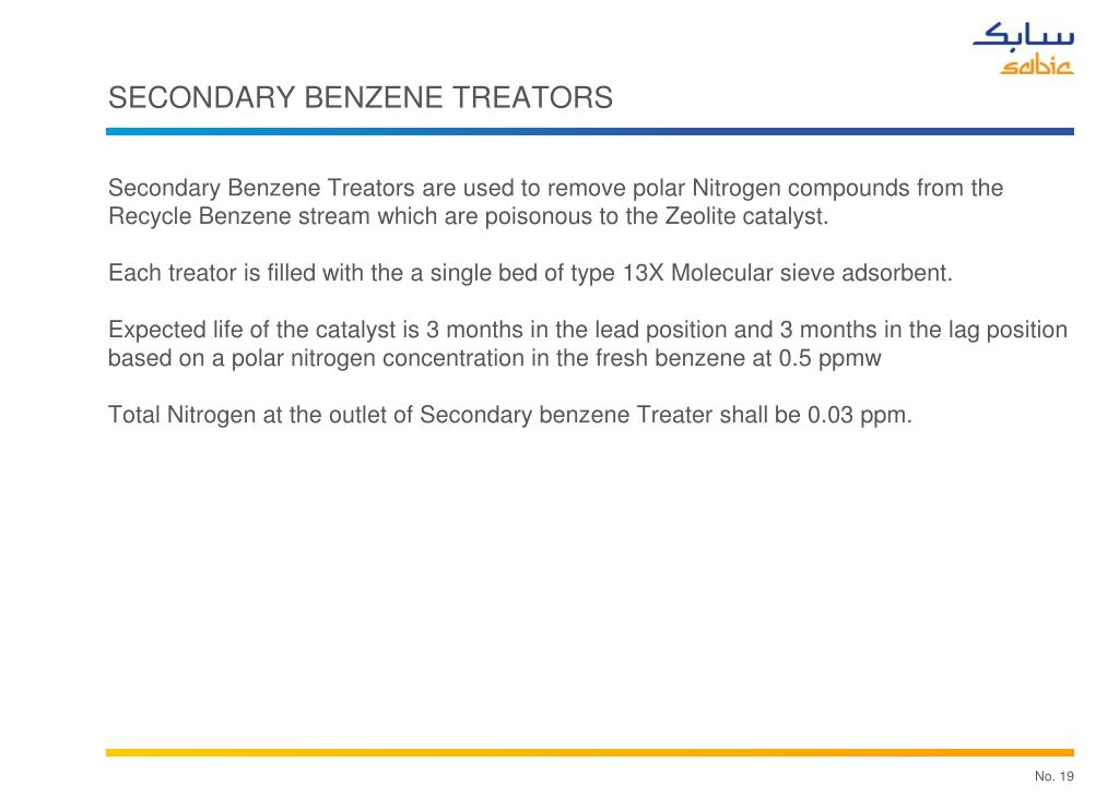 SECONDARY BENZENE TREATORS