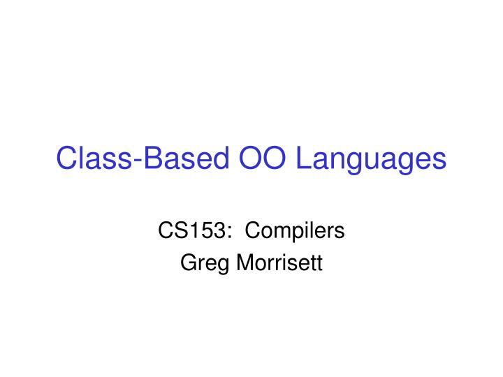 Class-Based OO Languages