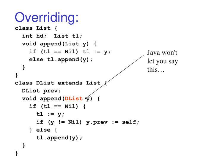 Overriding: