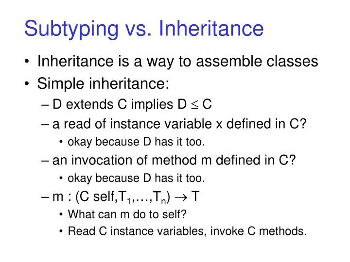 Subtyping vs. Inheritance