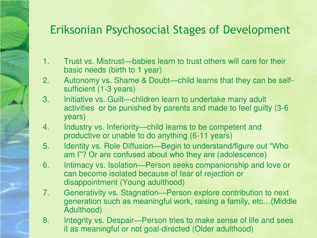 Eriksonian Psychosocial Stages of Development