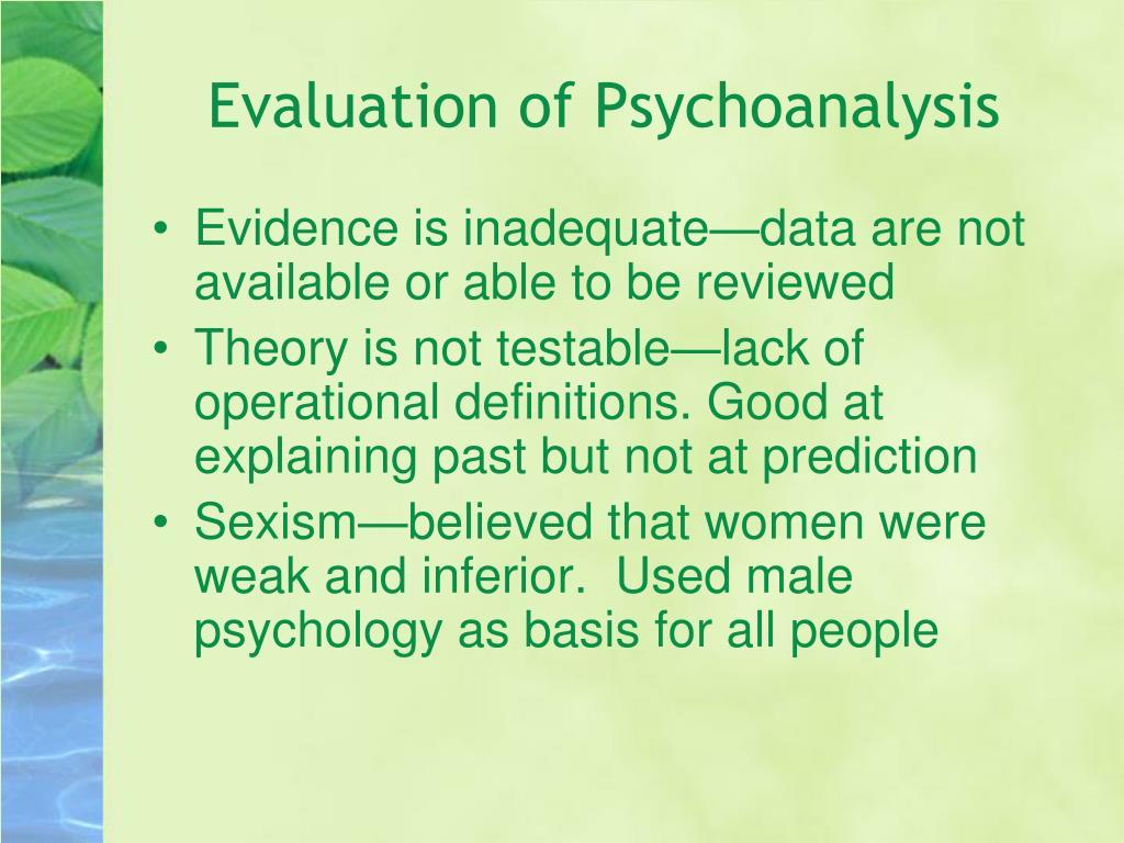 Evaluation of Psychoanalysis