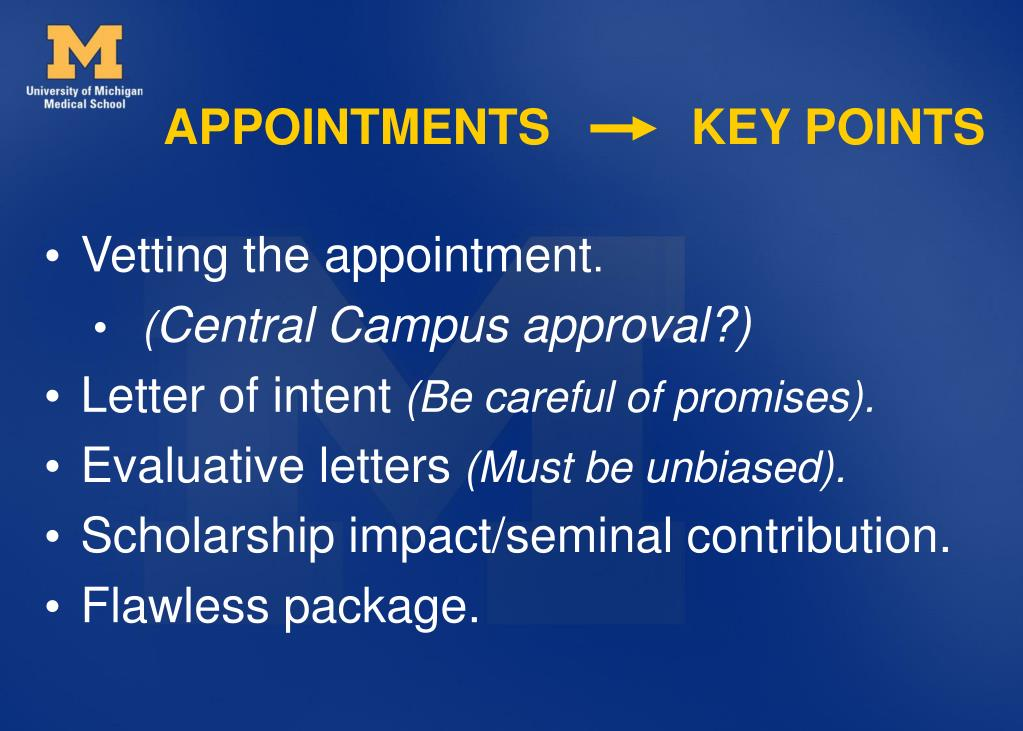 APPOINTMENTS    KEY POINTS