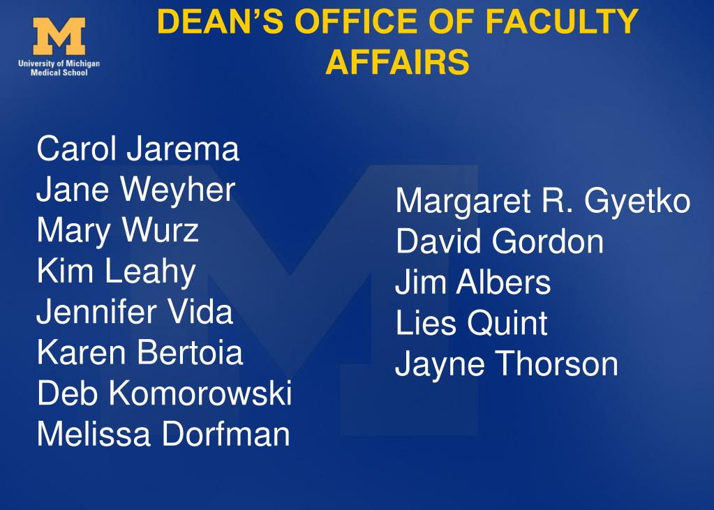 DEAN'S OFFICE OF FACULTY AFFAIRS