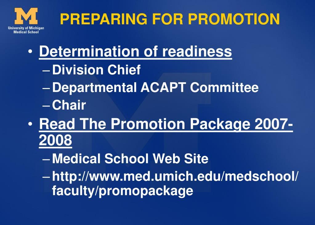 PREPARING FOR PROMOTION
