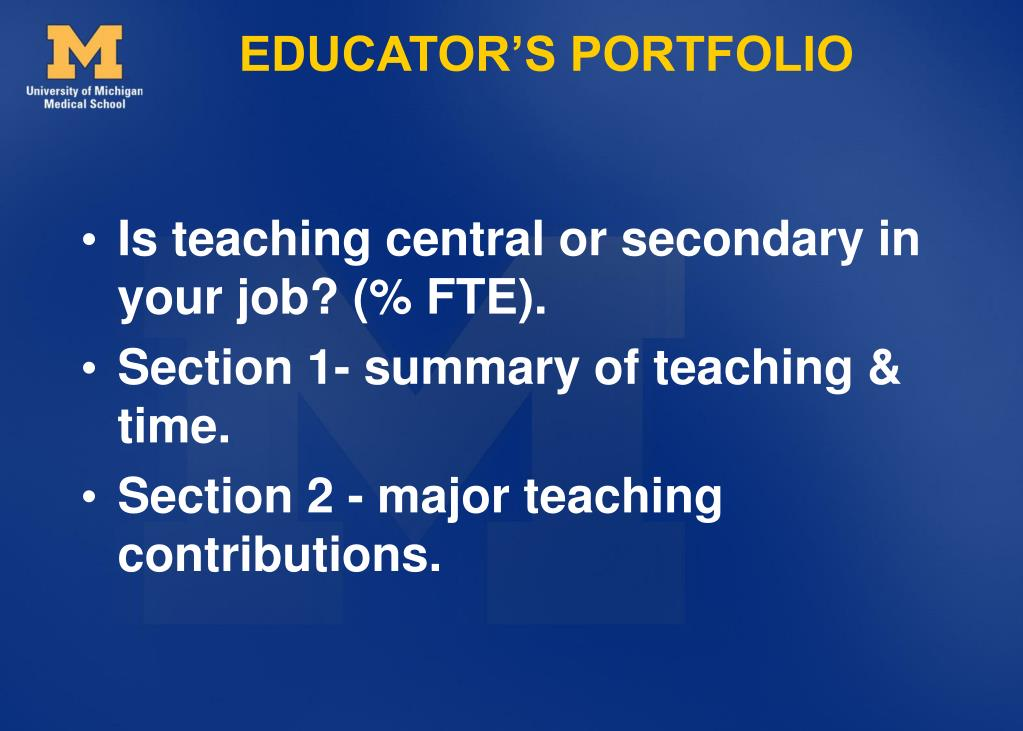 EDUCATOR'S PORTFOLIO