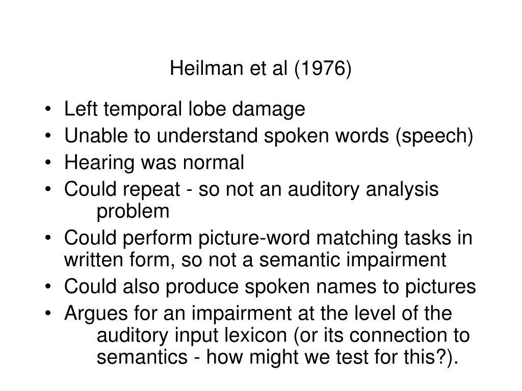 Heilman et al (1976)