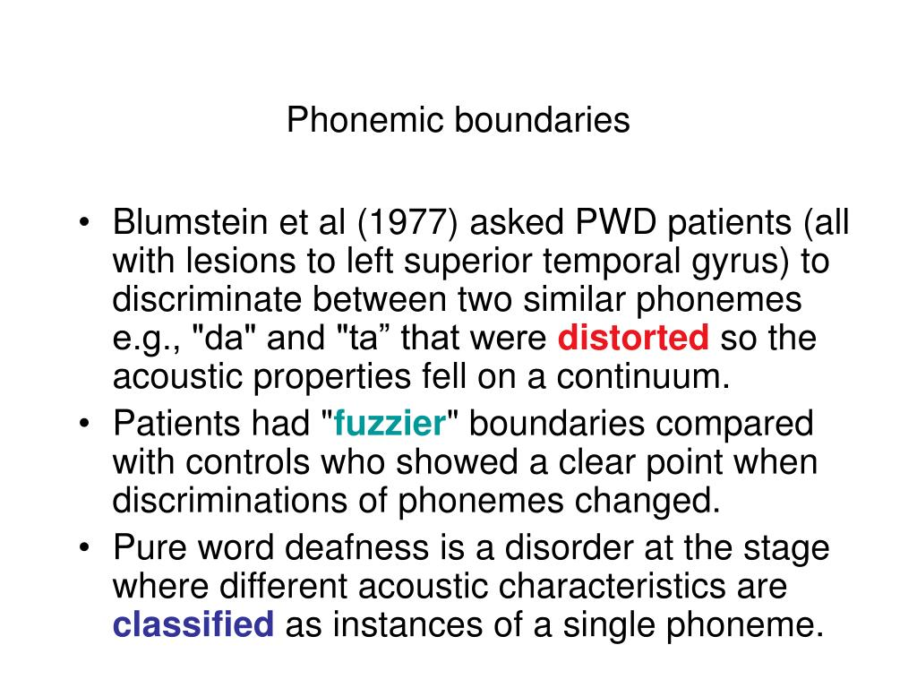 Phonemic boundaries