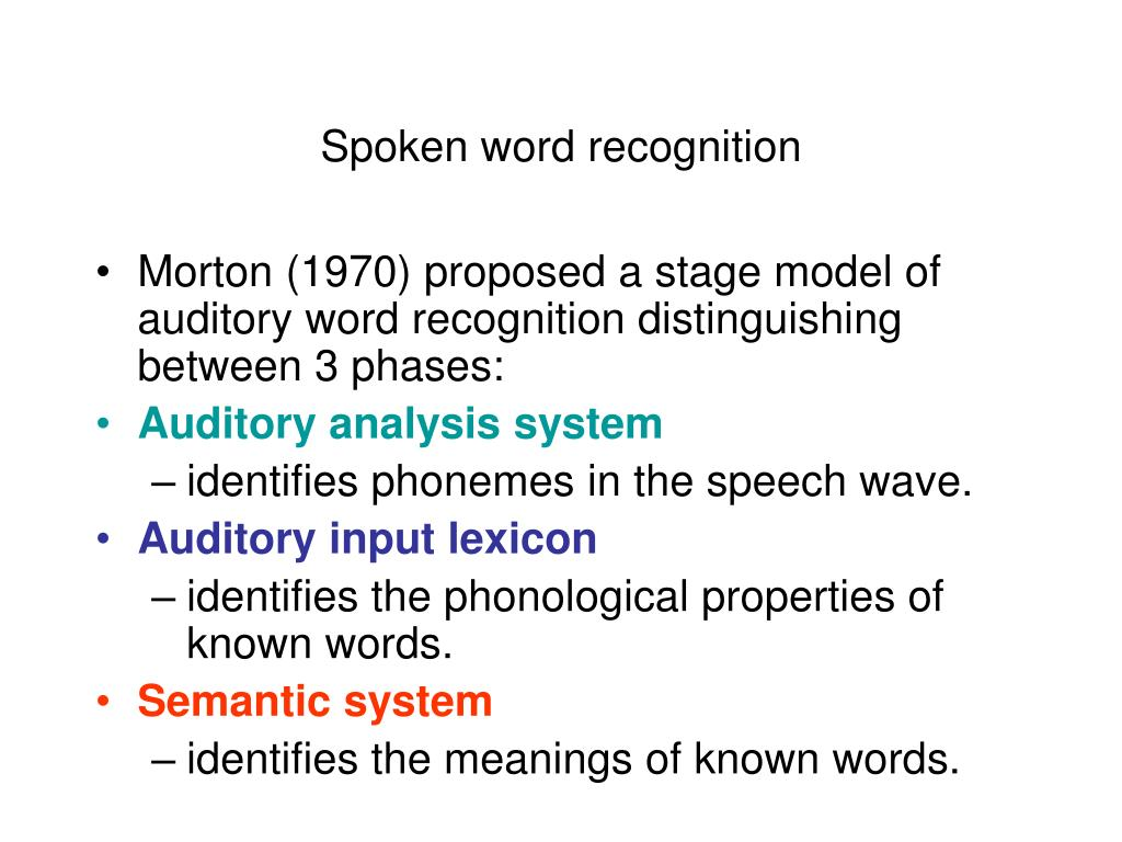 Spoken word recognition