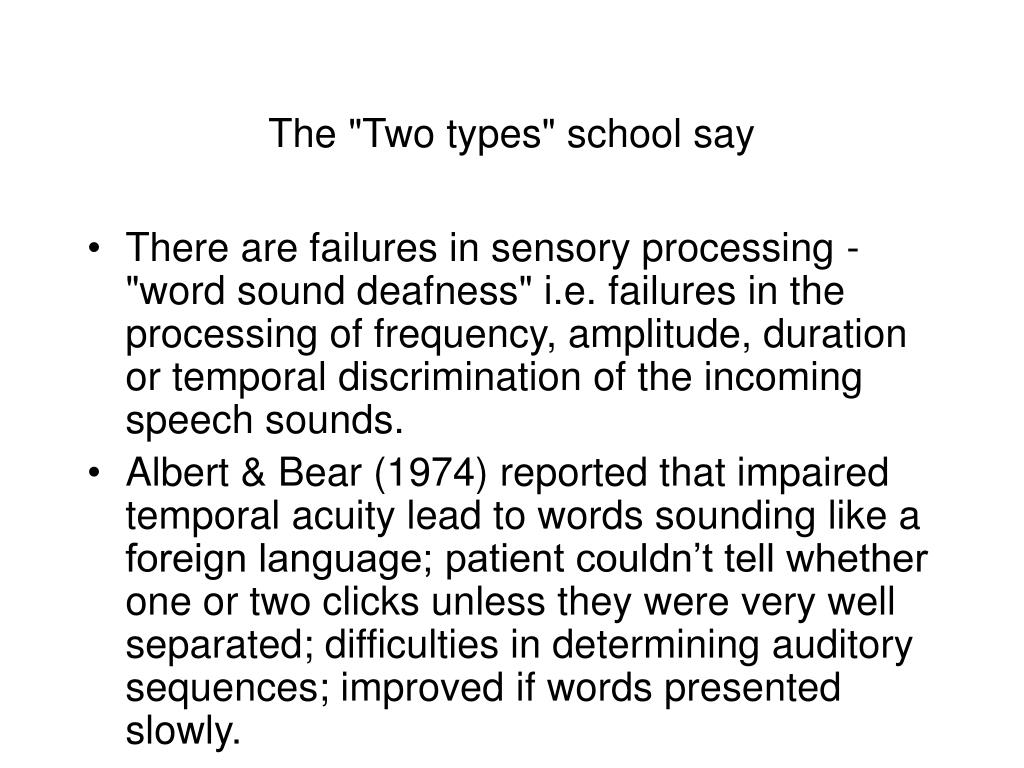 "The ""Two types"" school say"