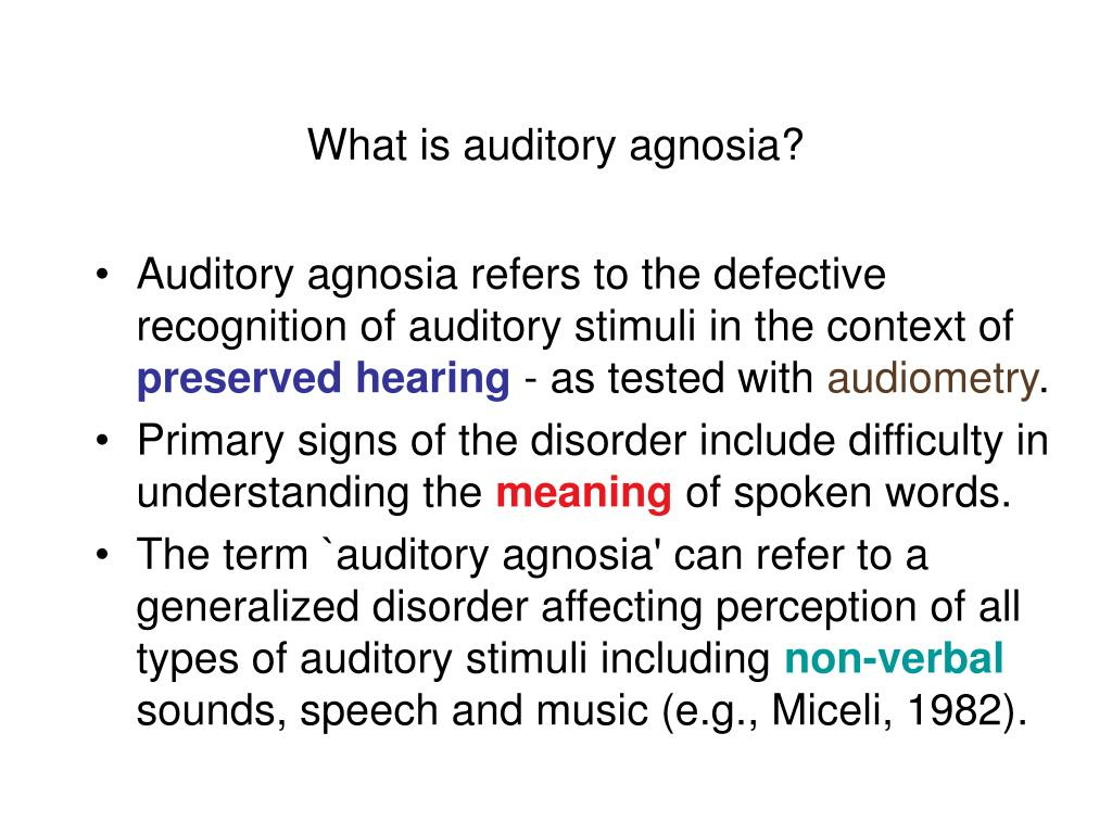 What is auditory agnosia?