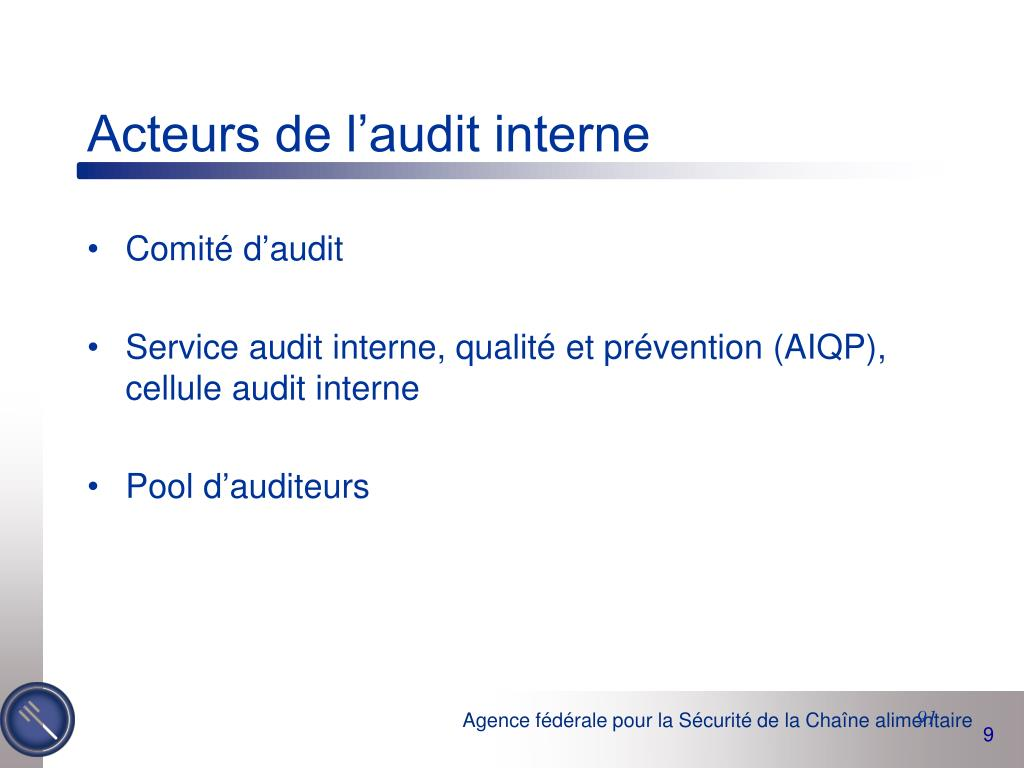 Acteurs de l'audit interne