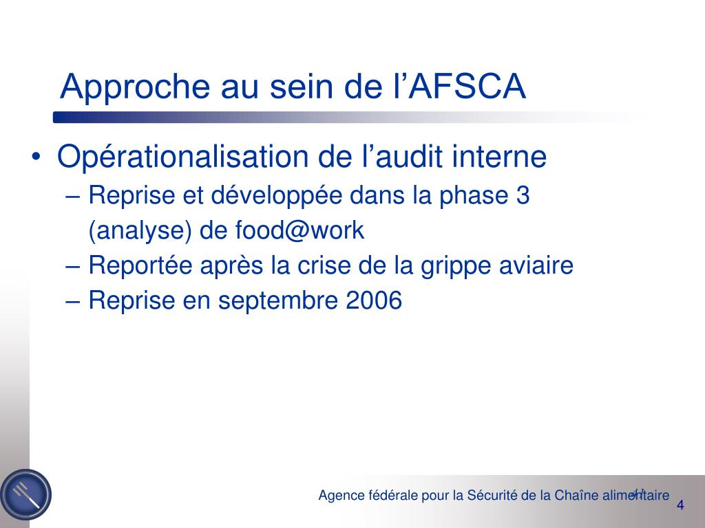 Approche au sein de l'AFSCA