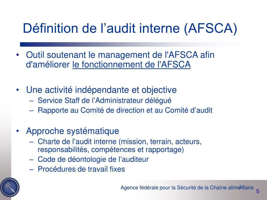Définition de l'audit interne (AFSCA)