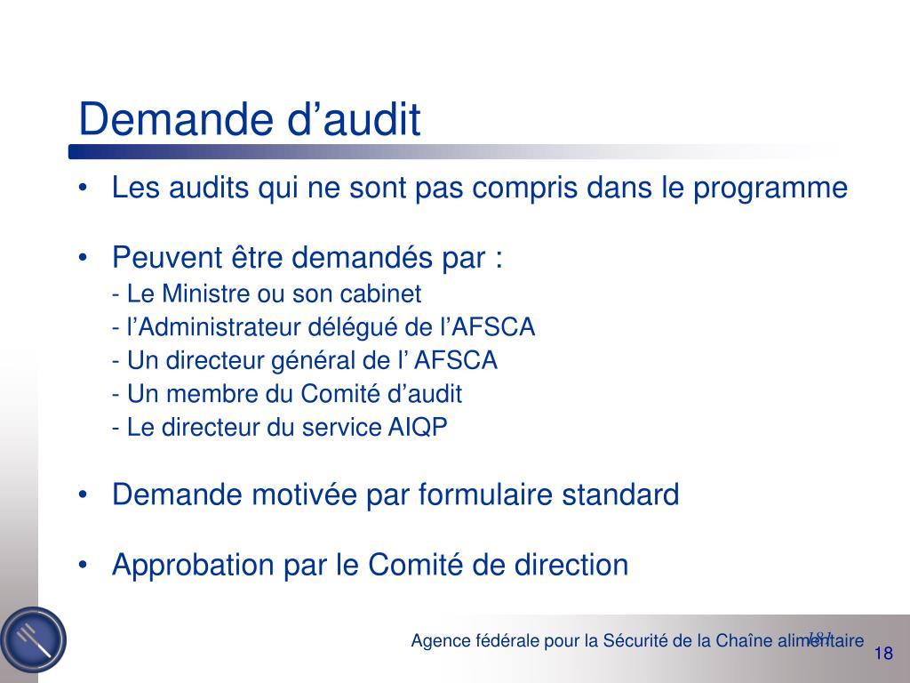 Demande d'audit