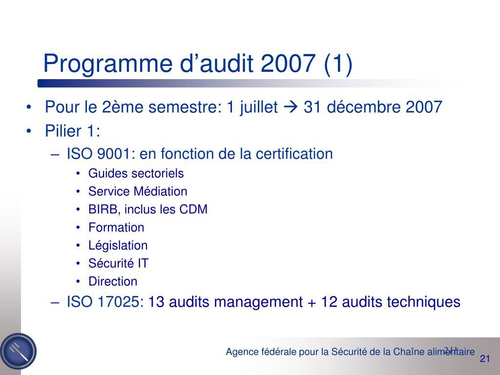 Programme d'audit 2007 (1)