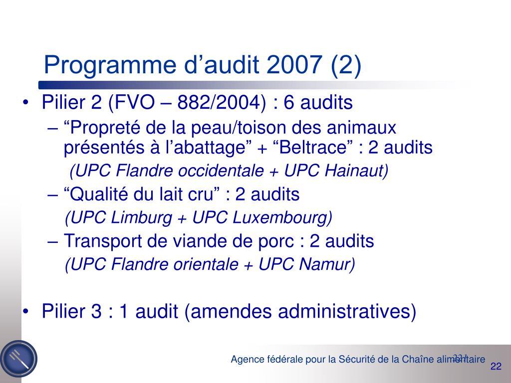 Programme d'audit 2007 (2)