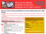 how do we identify students at risk from dropping out of high school