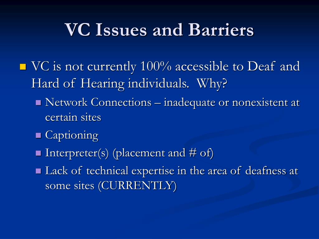 VC Issues and Barriers
